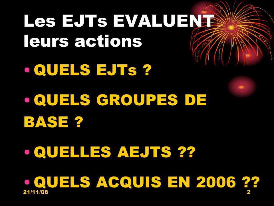 21/11/082 Les EJTs EVALUENT leurs actions QUELS EJTs ? QUELS GROUPES DE BASE ? QUELLES AEJTS ?? QUELS ACQUIS EN 2006 ??