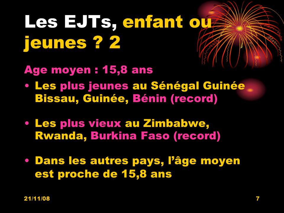 21/11/087 Les EJTs, enfant ou jeunes ? 2 Age moyen : 15,8 ans Les plus jeunes au Sénégal Guinée Bissau, Guinée, Bénin (record) Les plus vieux au Zimba