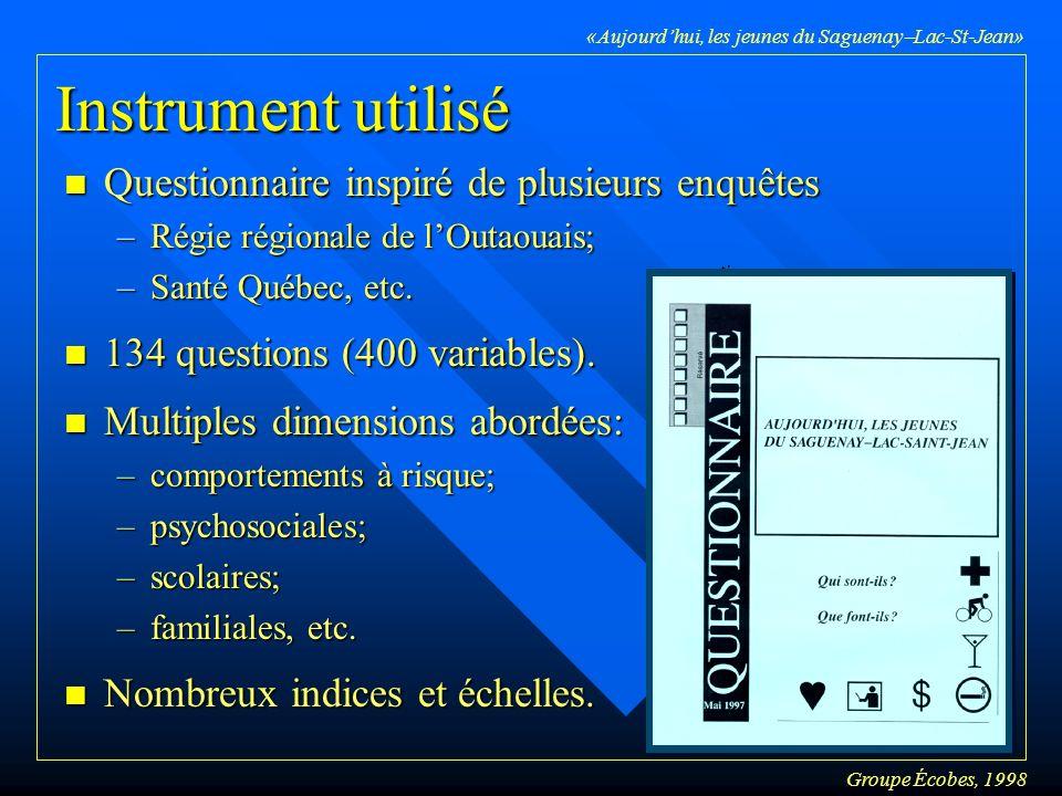 Groupe Écobes, 1998 «Aujourdhui, les jeunes du Saguenay Lac-St-Jean» Lanalyse discriminante