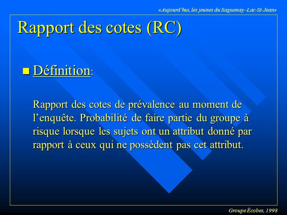 Groupe Écobes, 1998 «Aujourdhui, les jeunes du Saguenay Lac-St-Jean» Rapport des cotes (RC) n Définition : Rapport des cotes de prévalence au moment de lenquête.