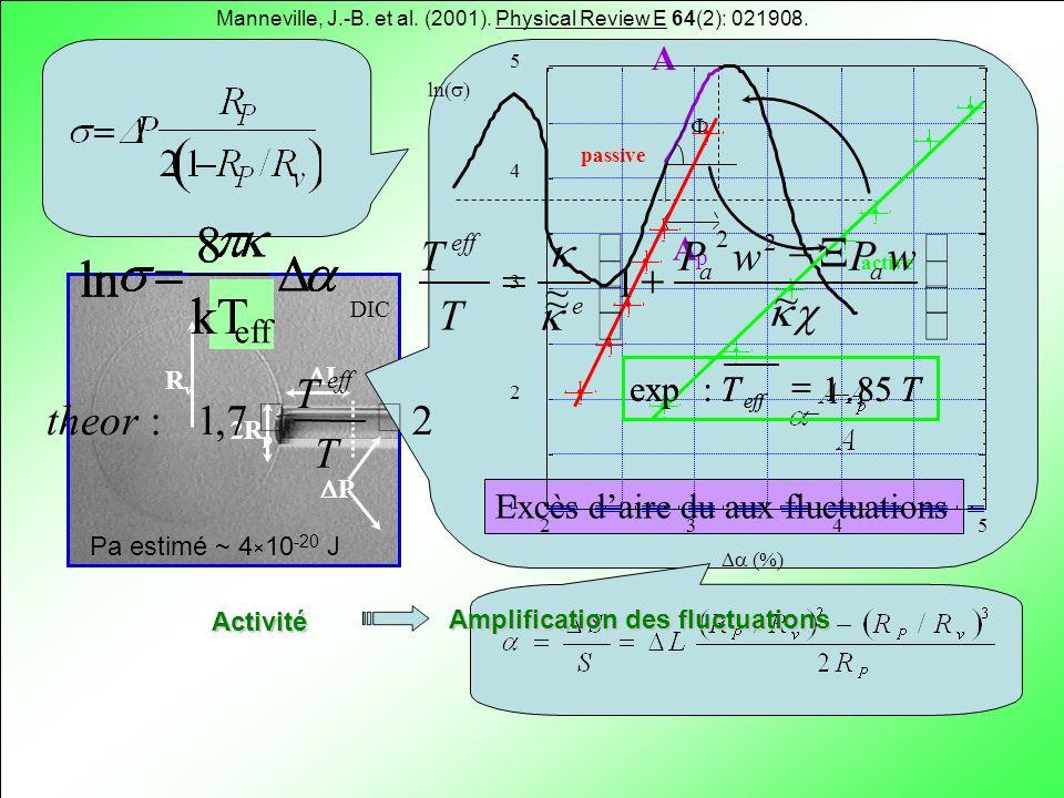 RvRv 2R p L P DIC Excès daire du aux fluctuations A A p Activité Amplification des fluctuations ln 8 kT eff TT eff 85.1:exp ~ 1 ~ ~ 2 2 wPwP T T aa e