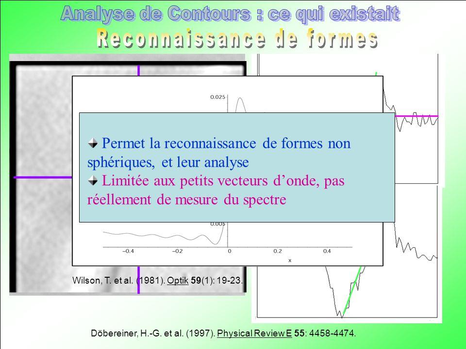 Döbereiner, H.-G. et al. (1997). Physical Review E 55: 4458-4474. Wilson, T. et al. (1981). Optik 59(1): 19-23. Permet la reconnaissance de formes non