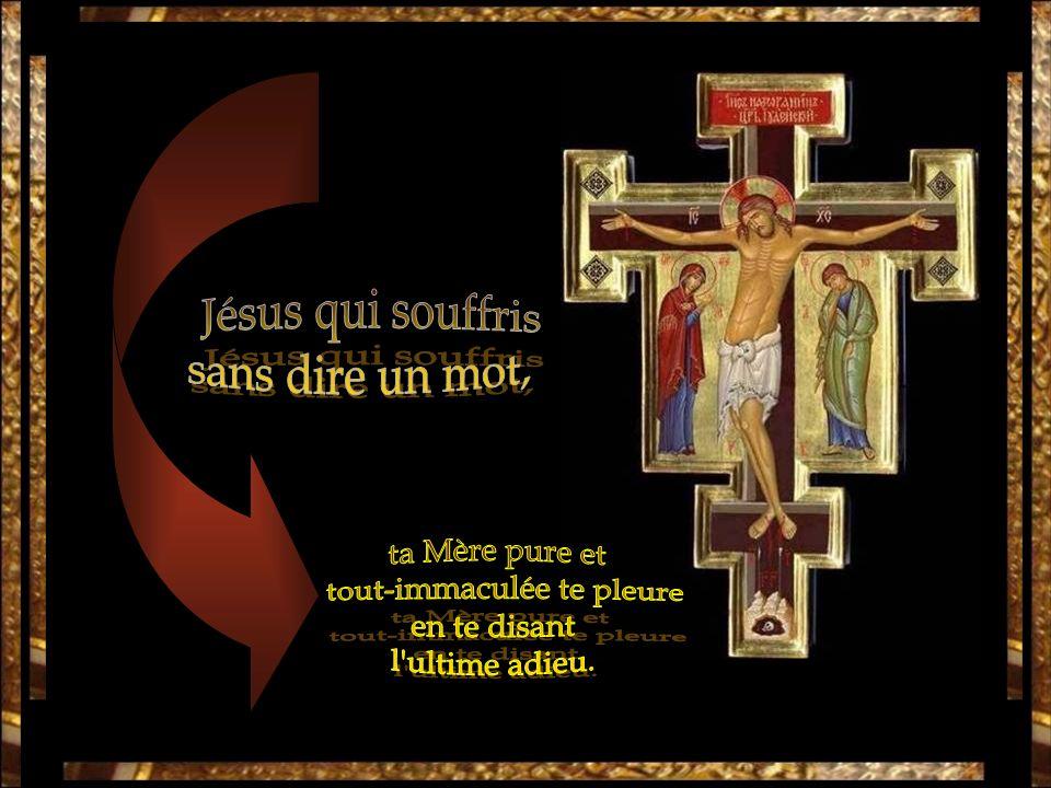 quune Mère a vu pendre à la croix, pleurant et gémissant et se lamentant maternellement.