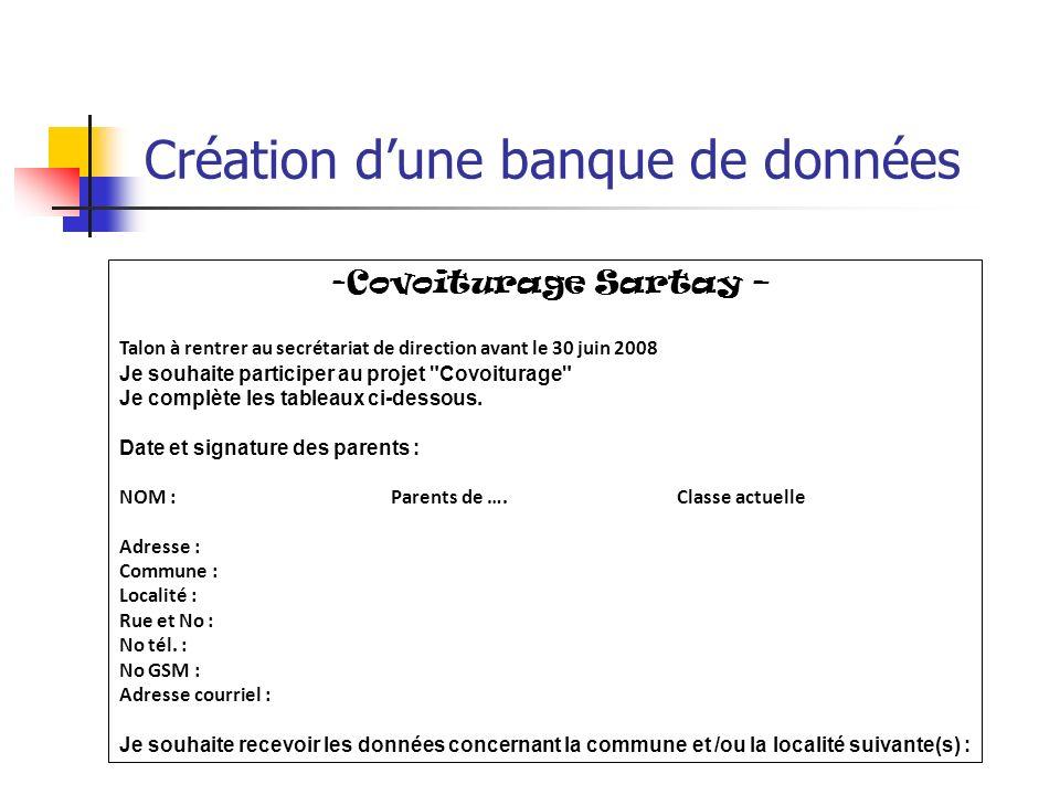 Création dune banque de données -Covoiturage Sartay – Talon à rentrer au secrétariat de direction avant le 30 juin 2008 Je souhaite participer au projet Covoiturage Je complète les tableaux ci-dessous.