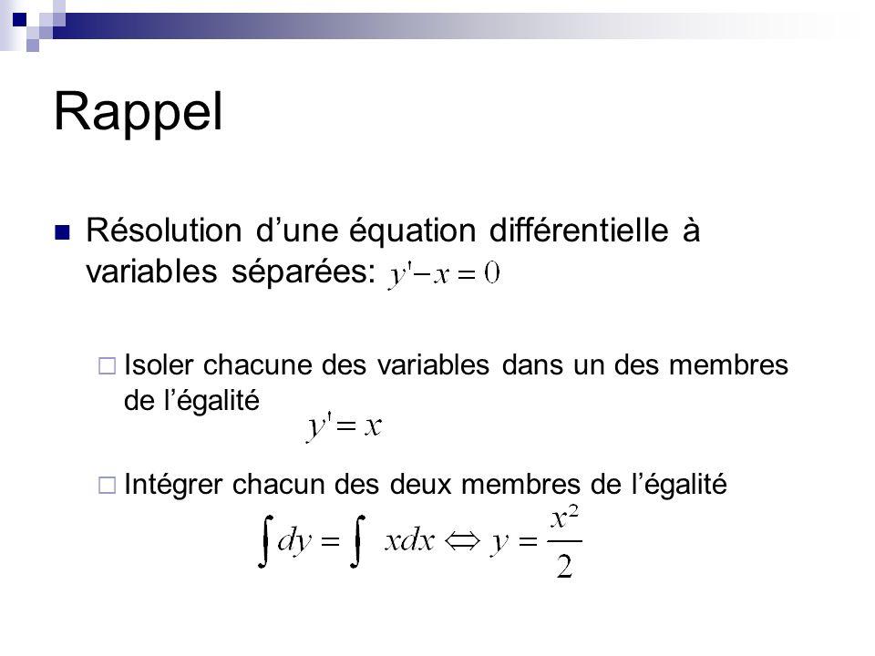 Rappel Résolution dune équation différentielle à variables séparées: Isoler chacune des variables dans un des membres de légalité Intégrer chacun des