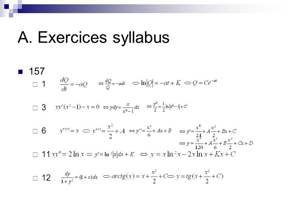 A. Exercices syllabus 158 A) B) 159 161 A B C
