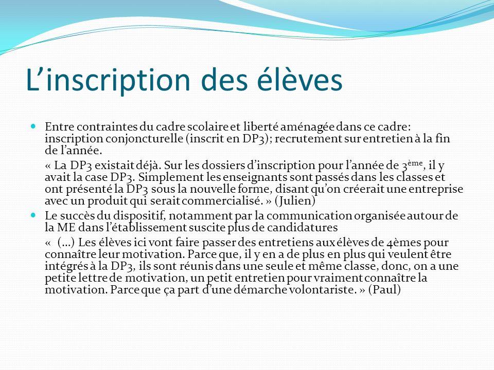 Linscription des élèves Entre contraintes du cadre scolaire et liberté aménagée dans ce cadre: inscription conjoncturelle (inscrit en DP3); recrutement sur entretien à la fin de lannée.