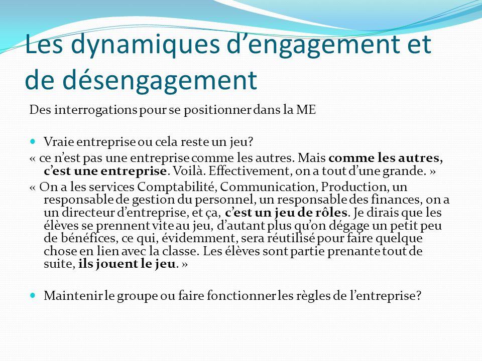 Les dynamiques dengagement et de désengagement Des interrogations pour se positionner dans la ME Vraie entreprise ou cela reste un jeu.