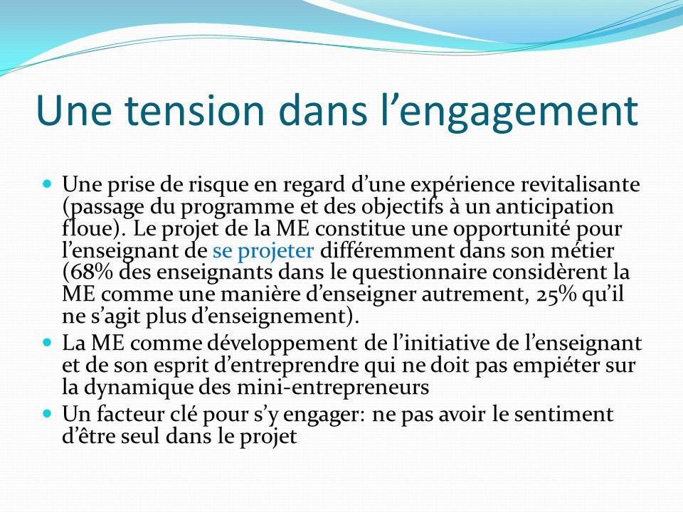 Une tension dans lengagement Une prise de risque en regard dune expérience revitalisante (passage du programme et des objectifs à un anticipation floue).