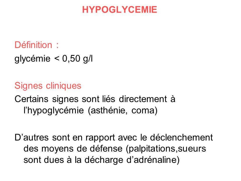 HYPOGLYCEMIE Définition : glycémie < 0,50 g/l Signes cliniques Certains signes sont liés directement à lhypoglycémie (asthénie, coma) Dautres sont en