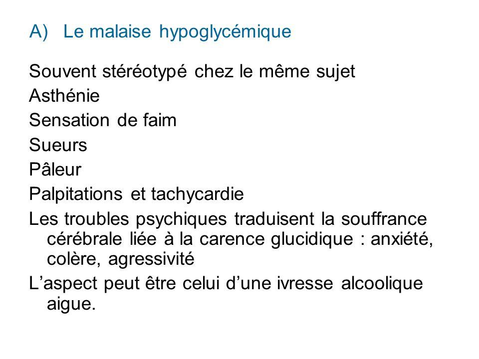A) Le malaise hypoglycémique Souvent stéréotypé chez le même sujet Asthénie Sensation de faim Sueurs Pâleur Palpitations et tachycardie Les troubles p