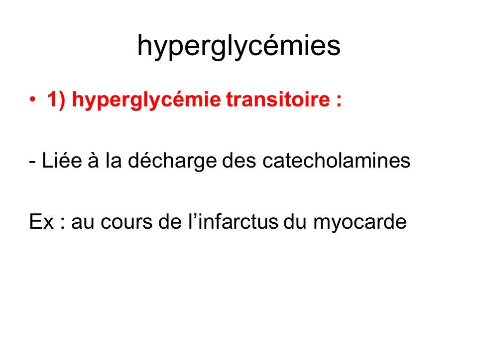 hyperglycémies 1) hyperglycémie transitoire : - Liée à la décharge des catecholamines Ex : au cours de linfarctus du myocarde