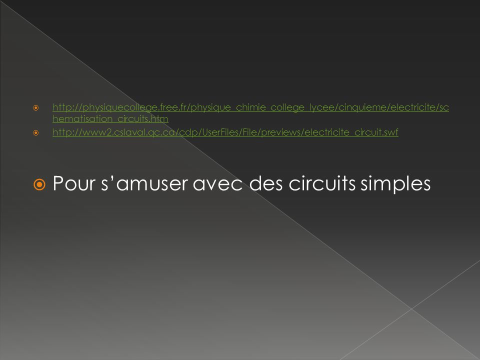 http://physiquecollege.free.fr/physique_chimie_college_lycee/cinquieme/electricite/sc hematisation_circuits.htm http://physiquecollege.free.fr/physiqu