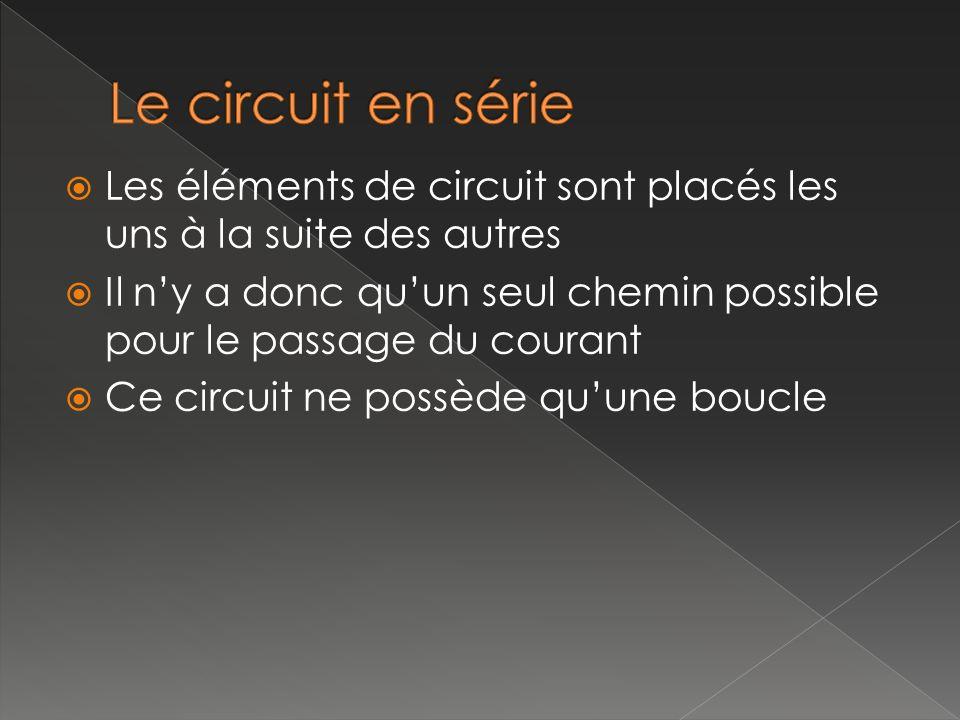 Les éléments de circuit sont placés les uns à la suite des autres Il ny a donc quun seul chemin possible pour le passage du courant Ce circuit ne poss