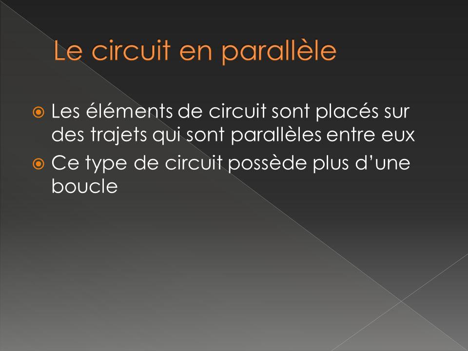 Les éléments de circuit sont placés sur des trajets qui sont parallèles entre eux Ce type de circuit possède plus dune boucle