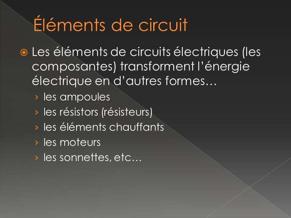 Les éléments de circuits électriques (les composantes) transforment lénergie électrique en dautres formes… les ampoules les résistors (résisteurs) les