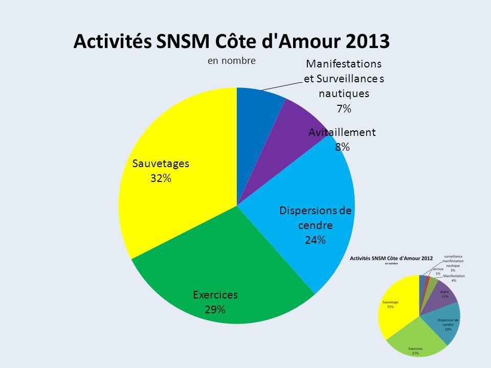 Activités SNSM Côte d Amour 2013 en nombre par moyen