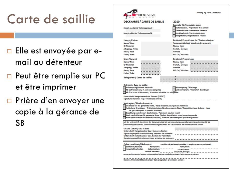 Carte de saillie Elle est envoyée par e- mail au détenteur Peut être remplie sur PC et être imprimer Prière den envoyer une copie à la gérance de SB