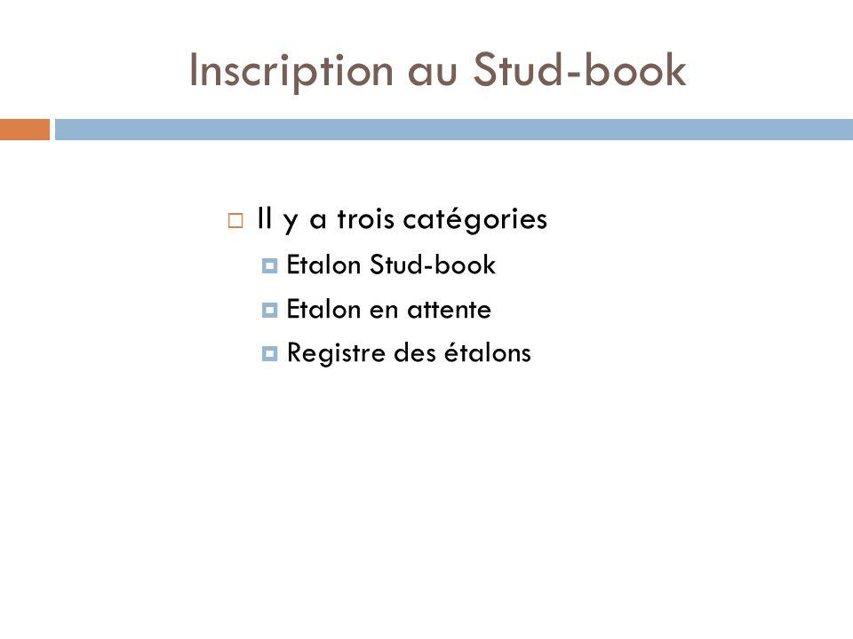 Inscription au Stud-book Il y a trois catégories Etalon Stud-book Etalon en attente Registre des étalons