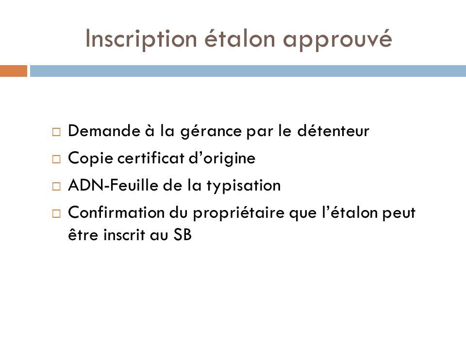 Inscription étalon approuvé Demande à la gérance par le détenteur Copie certificat dorigine ADN-Feuille de la typisation Confirmation du propriétaire que létalon peut être inscrit au SB