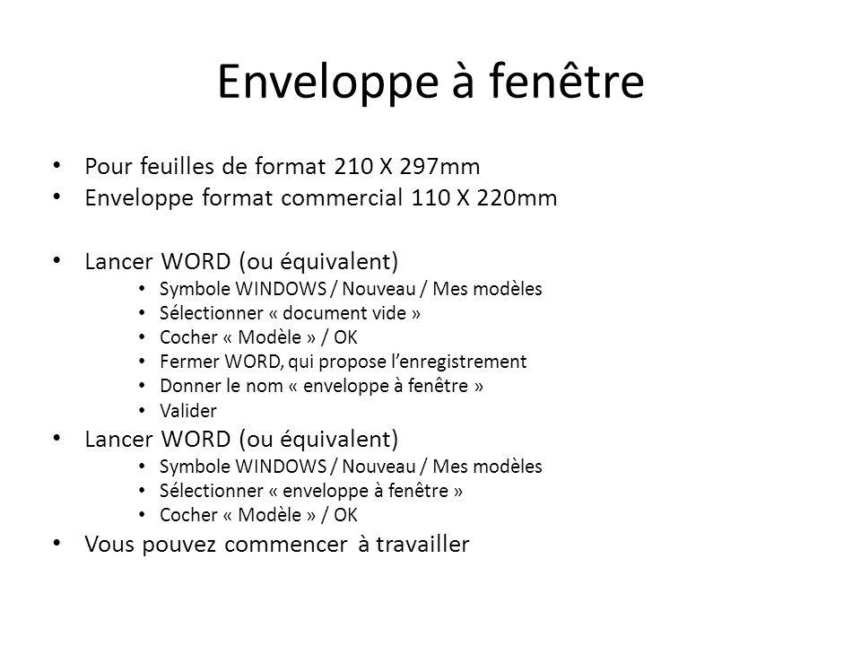 Pour feuilles de format 210 X 297mm Enveloppe format commercial 110 X 220mm Lancer WORD (ou équivalent) Symbole WINDOWS / Nouveau / Mes modèles Sélect