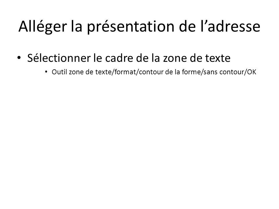 Créer lindex de pliage Insérer une zone de texte pour ladresse Insertion/zone de texte/zone de texte simple Effacer le texte à lintérieur Y écrire « -- » Définir les dimensions de cette zone adresse Outil « zone de texte »/format Hauteur : 1cm – Largeur : 1cm Définir la position de cette zone de texte Outil « zone de texte »/format/position/autres options Horizontale : 1cm à droite de la page Verticale : 9,8cm au dessous de page Ancrer (fixer) cette zone adresse Effacer le cadre de cette zone de texte Outil zone de texte/format/contour de la forme/sans contour/OK
