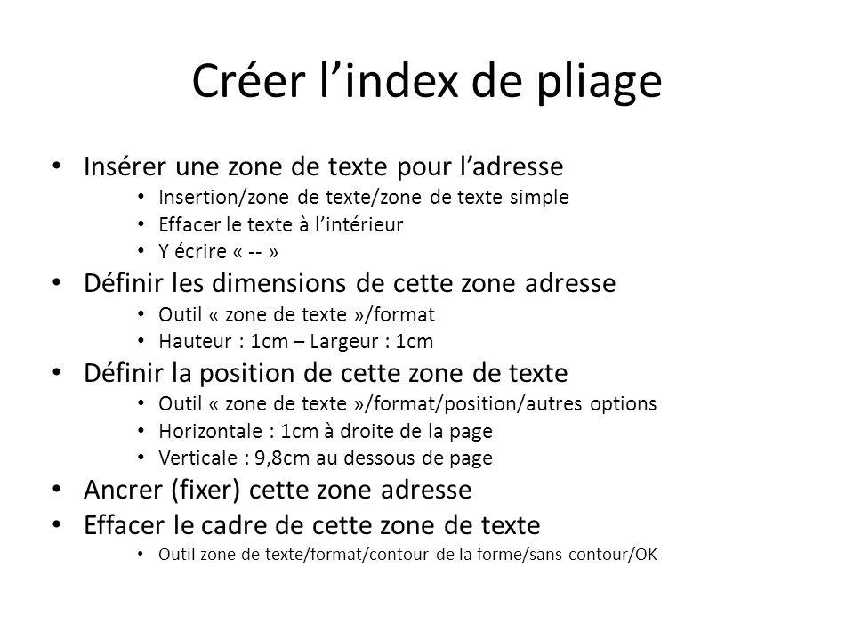 Créer lindex de pliage Insérer une zone de texte pour ladresse Insertion/zone de texte/zone de texte simple Effacer le texte à lintérieur Y écrire « -