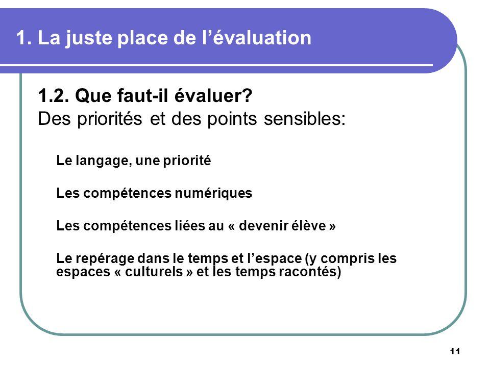 11 1. La juste place de lévaluation 1.2. Que faut-il évaluer? Des priorités et des points sensibles: Le langage, une priorité Les compétences numériqu