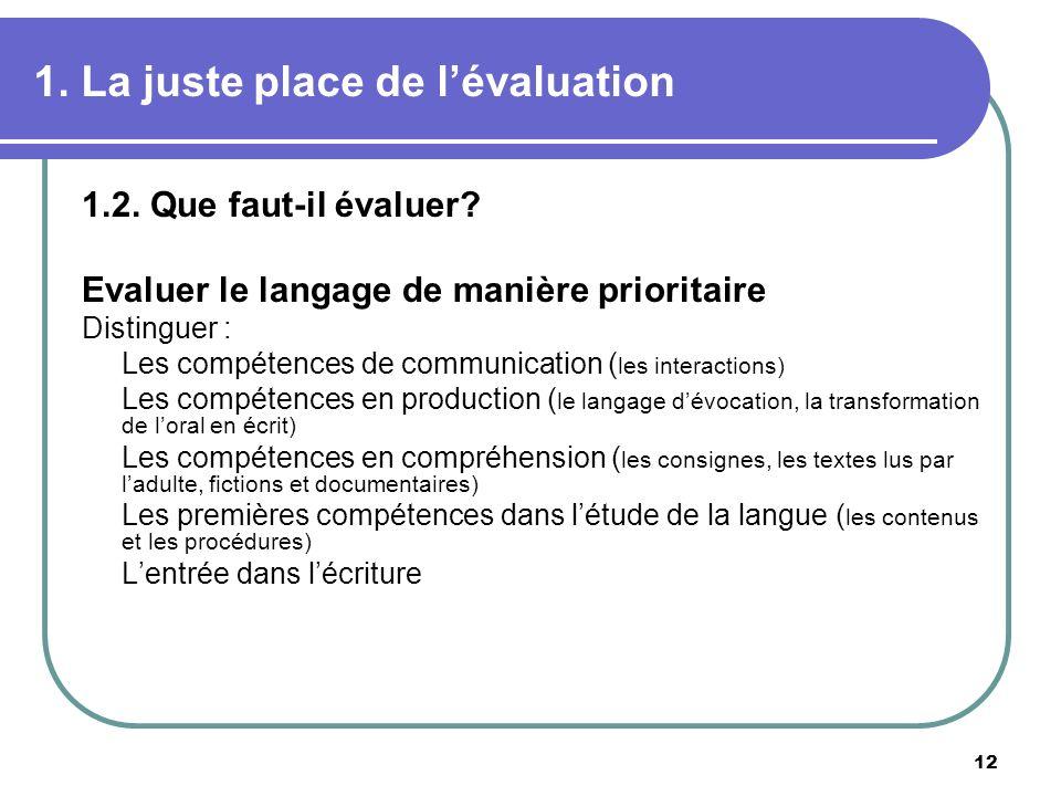 12 1. La juste place de lévaluation 1.2. Que faut-il évaluer? Evaluer le langage de manière prioritaire Distinguer : Les compétences de communication