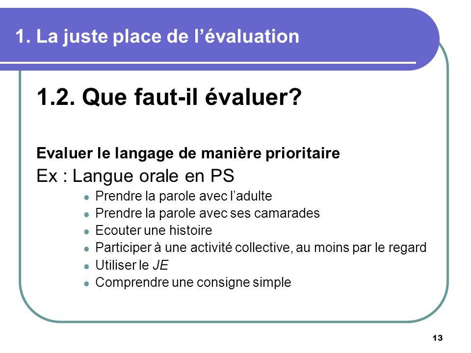 13 1. La juste place de lévaluation 1.2. Que faut-il évaluer? Evaluer le langage de manière prioritaire Ex : Langue orale en PS Prendre la parole avec