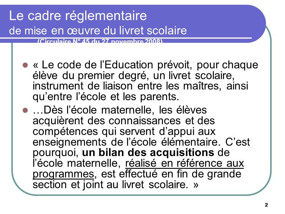 2 Le cadre réglementaire de mise en œuvre du livret scolaire (Circulaire N° 45 du 27 novembre 2008) « Le code de lEducation prévoit, pour chaque élève