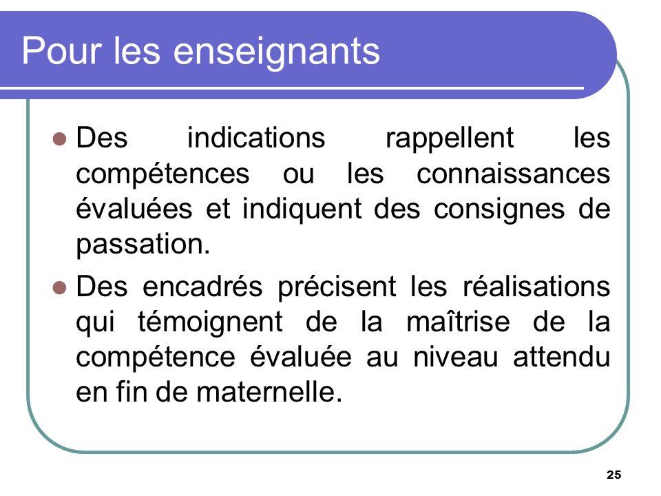 25 Pour les enseignants Des indications rappellent les compétences ou les connaissances évaluées et indiquent des consignes de passation. Des encadrés