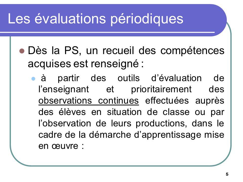 5 Les évaluations périodiques Dès la PS, un recueil des compétences acquises est renseigné : à partir des outils dévaluation de lenseignant et priorit
