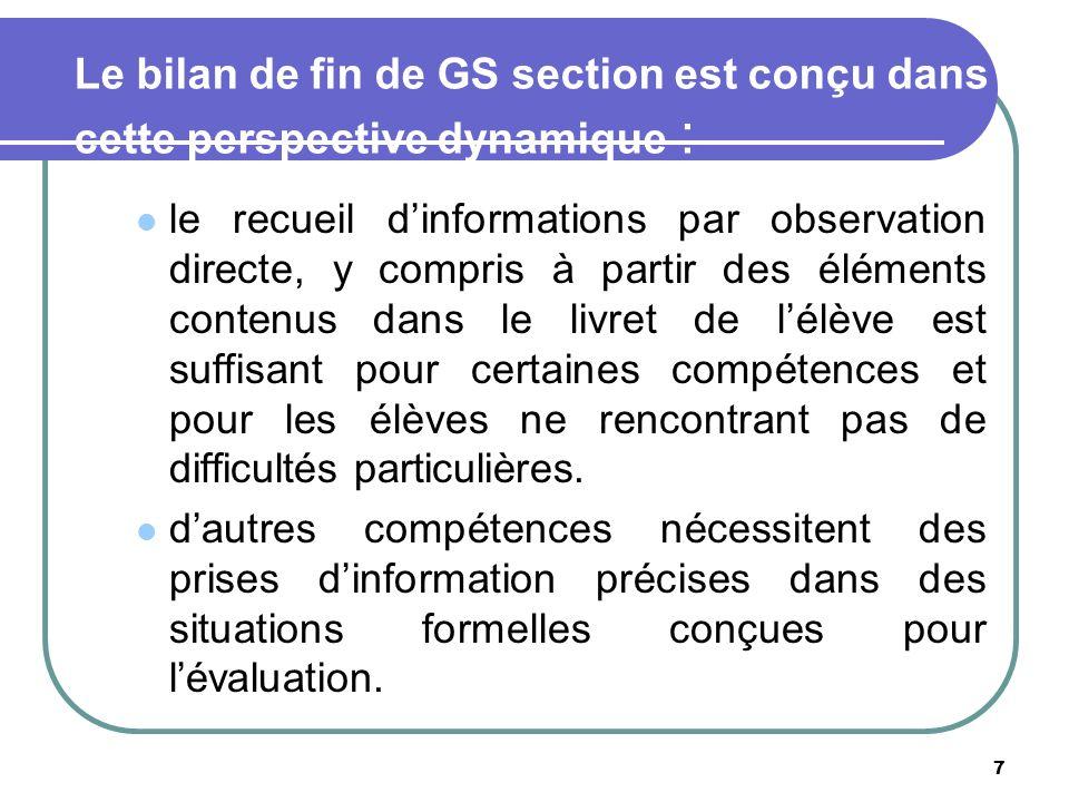 7 Le bilan de fin de GS section est conçu dans cette perspective dynamique : le recueil dinformations par observation directe, y compris à partir des