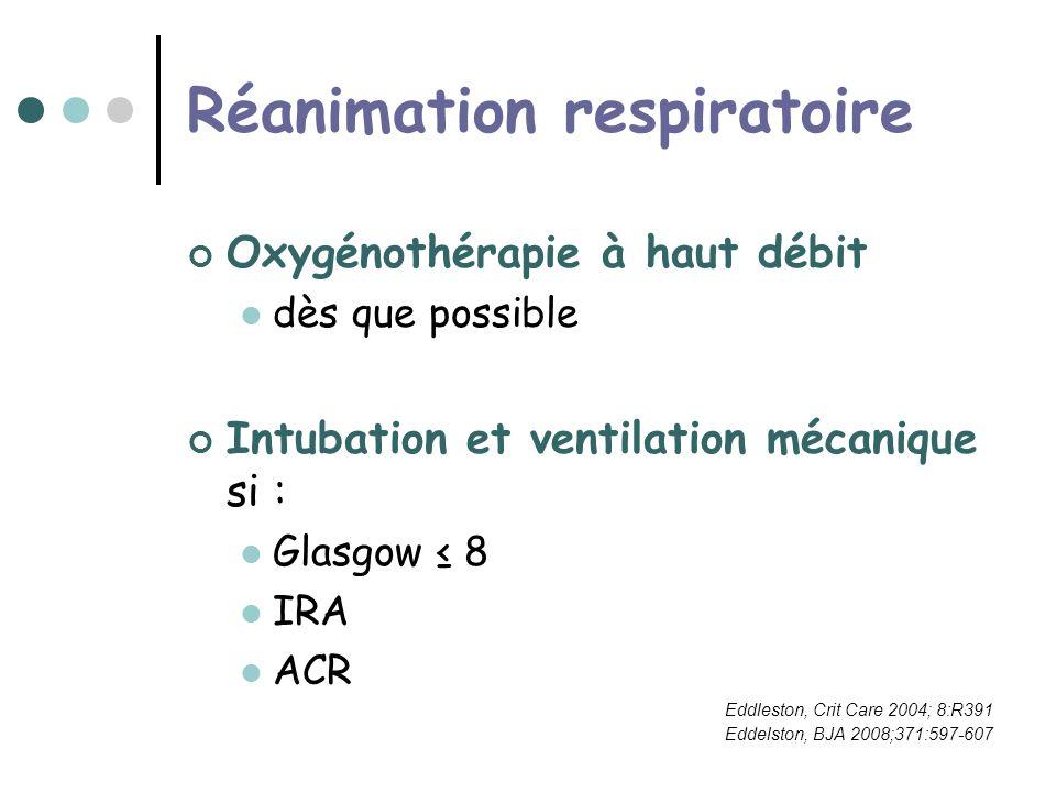 Réanimation respiratoire Oxygénothérapie à haut débit dès que possible Intubation et ventilation mécanique si : Glasgow 8 IRA ACR Eddleston, Crit Care 2004; 8:R391 Eddelston, BJA 2008;371:597-607