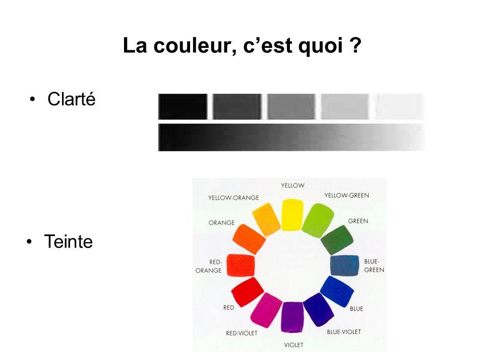 Saturation Il faut trois quantités pour caractériser complètement une couleur .