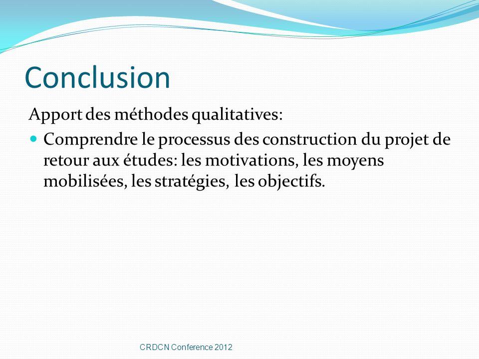 Conclusion Apport des méthodes qualitatives: Comprendre le processus des construction du projet de retour aux études: les motivations, les moyens mobilisées, les stratégies, les objectifs.