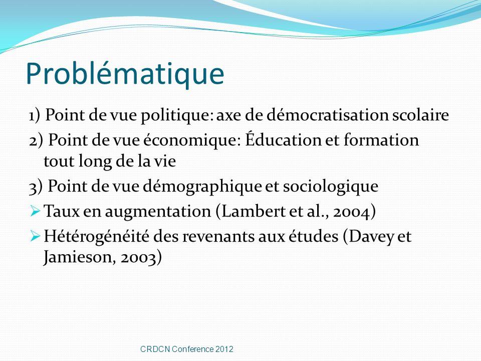 Problématique 1) Point de vue politique: axe de démocratisation scolaire 2) Point de vue économique: Éducation et formation tout long de la vie 3) Poi