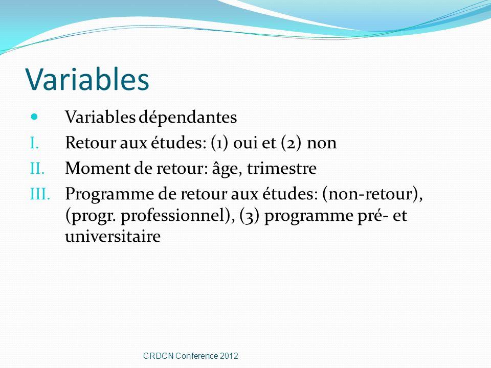 Variables Variables dépendantes I. Retour aux études: (1) oui et (2) non II. Moment de retour: âge, trimestre III. Programme de retour aux études: (no