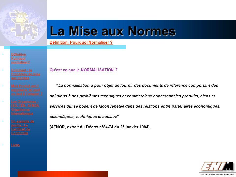Propriété Industrielle La Mise aux Normes Quest ce que la NORMALISATION .