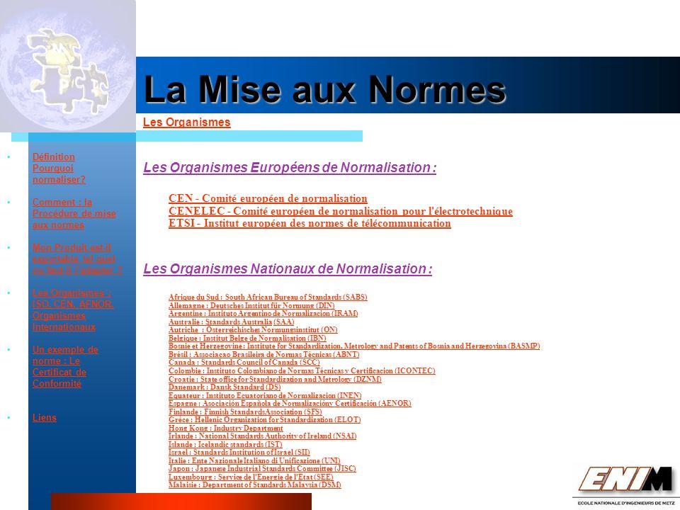 Propriété Industrielle La Mise aux Normes Les Organismes Définition Pourquoi normaliser.