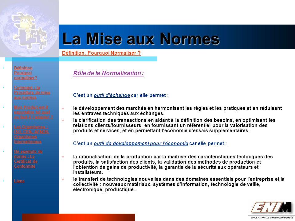 Propriété Industrielle La Mise aux Normes Définition.