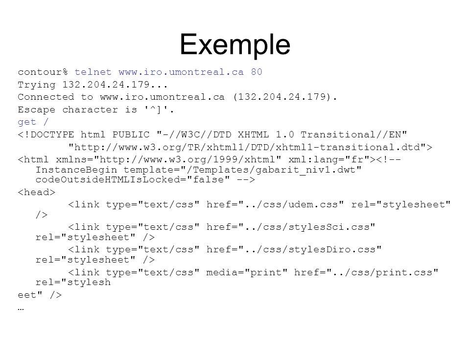 Exemple contour% telnet www.iro.umontreal.ca 80 Trying 132.204.24.179...