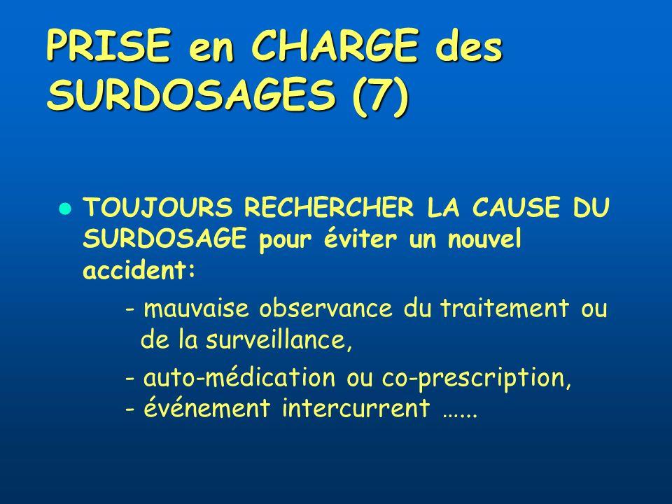 PRISE en CHARGE des SURDOSAGES (7) TOUJOURS RECHERCHER LA CAUSE DU SURDOSAGE pour éviter un nouvel accident: - mauvaise observance du traitement ou de