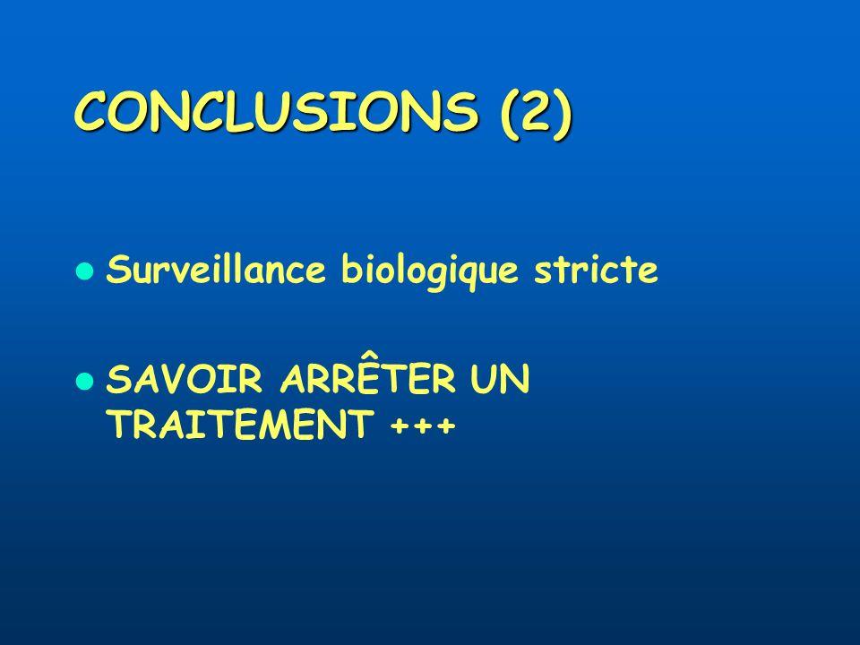 CONCLUSIONS (2) Surveillance biologique stricte SAVOIR ARRÊTER UN TRAITEMENT +++