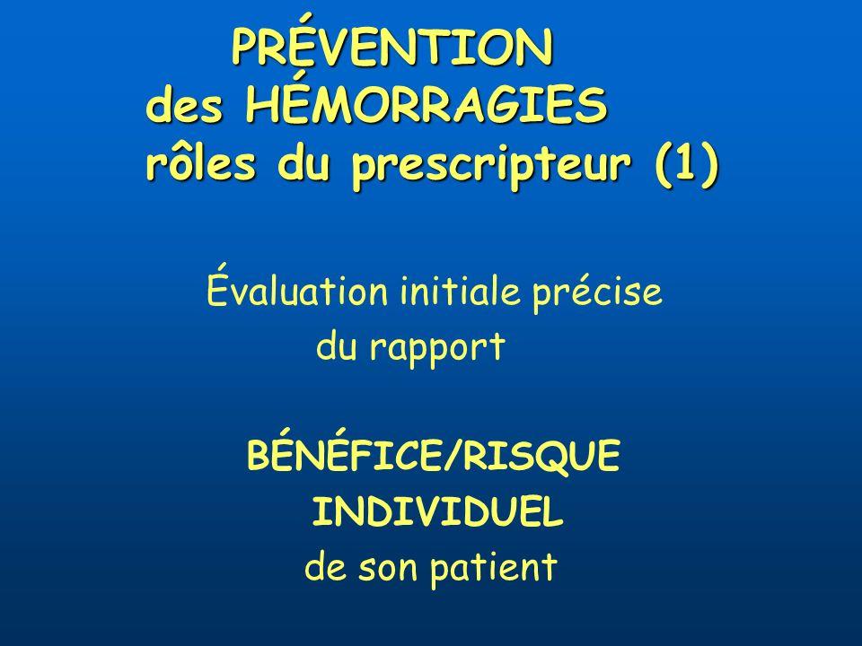 PRÉVENTION des HÉMORRAGIES rôles du prescripteur (1) Évaluation initiale précise du rapport BÉNÉFICE/RISQUE INDIVIDUEL de son patient