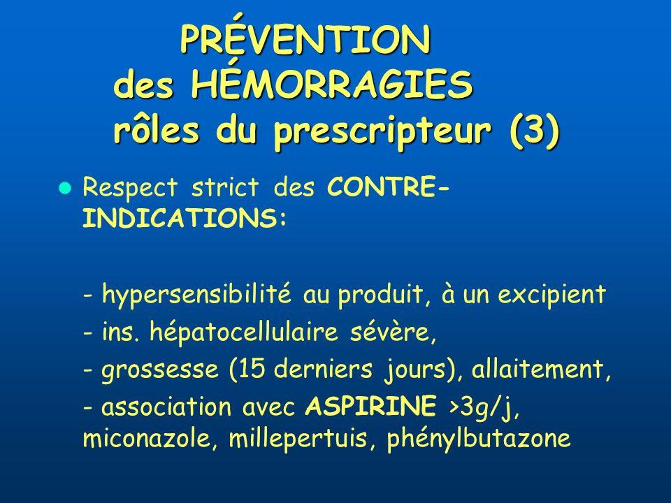 PRÉVENTION des HÉMORRAGIES rôles du prescripteur (3) Respect strict des CONTRE- INDICATIONS: - hypersensibilité au produit, à un excipient - ins.