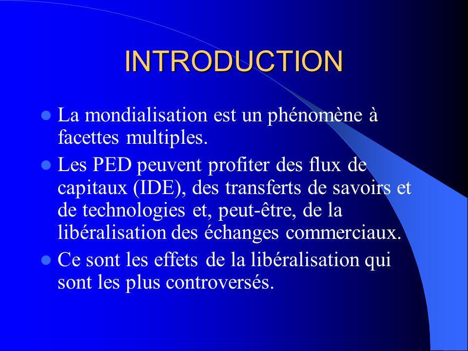INTRODUCTION La mondialisation est un phénomène à facettes multiples. Les PED peuvent profiter des flux de capitaux (IDE), des transferts de savoirs e