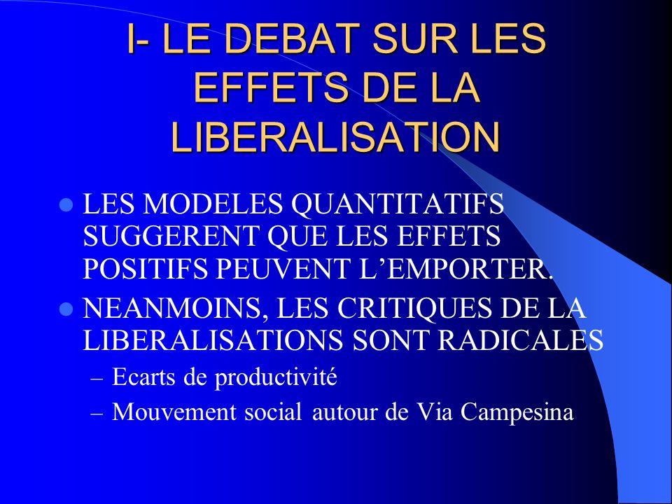 LES ANALYSES QUANTITATIVES Tous les modèles suggèrent que les PED gagneraient a la libéralisation; Mais les modèles sont très simplifiés et les résultats varient beaucoup selon les hypothèses.