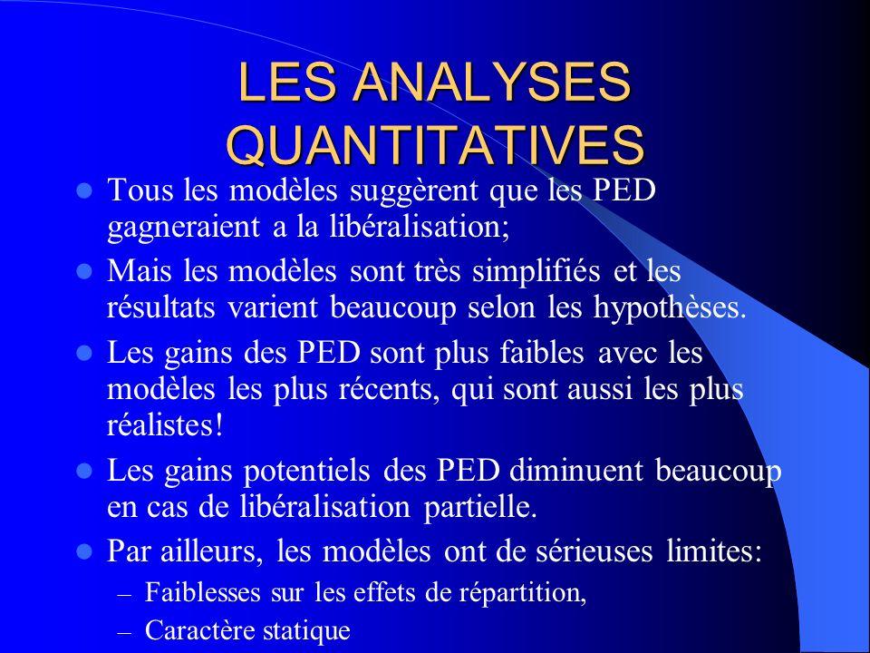 LES ANALYSES QUANTITATIVES Tous les modèles suggèrent que les PED gagneraient a la libéralisation; Mais les modèles sont très simplifiés et les résult